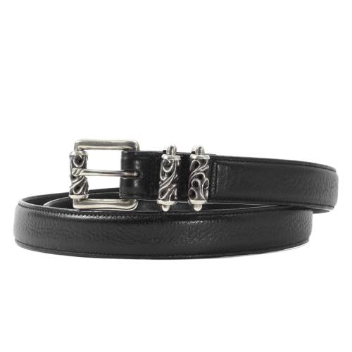 CHROME HEARTS 3ピースローラーレザーベルト(Roller 3 Piece Belt 1in)