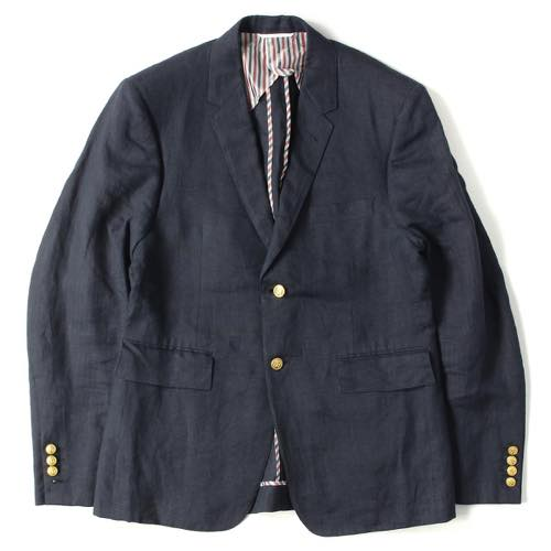 THOM BROWNE リネン3Bテーラードジャケット(CLASSIC SC IN NAVY LINEN W GOLD BUTTONS)